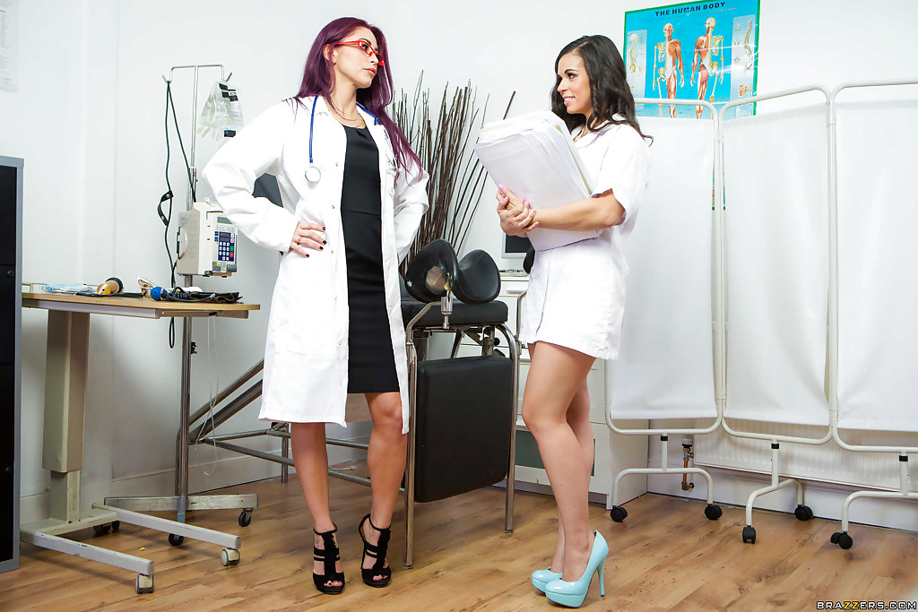 Horny female doctor and a nurse