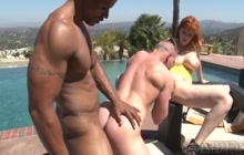 Homemade interacial bisexual threesome