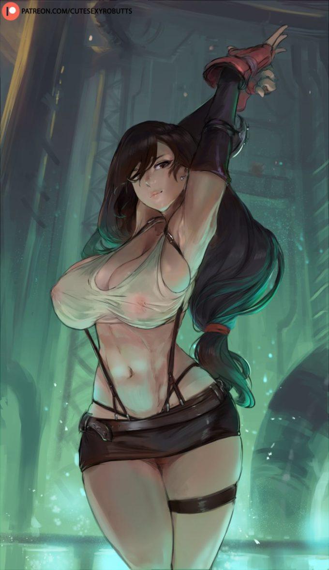 Final fantasy aeris tifa yuffie group hentai image
